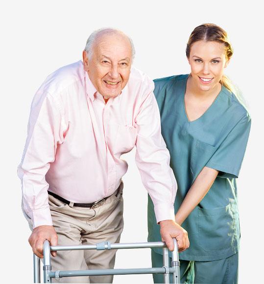 Iloinen vanhus ja hoitaja